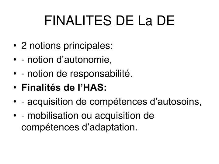 FINALITES DE La DE