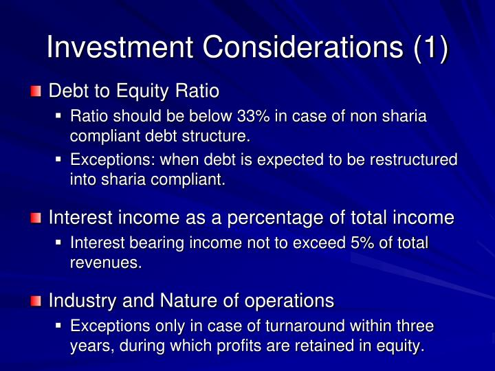 Investment considerations 1