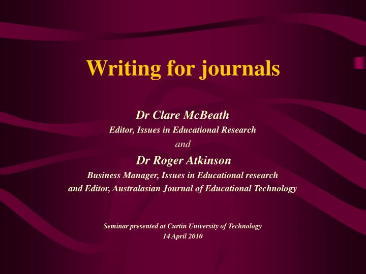 writing for journals n.