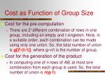 cost as function of group size