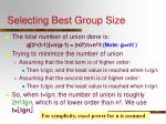 selecting best group size