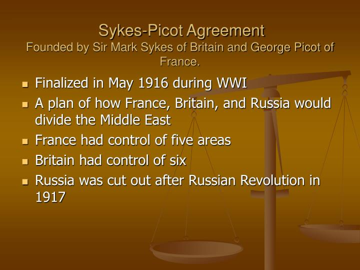 sykes picot agreement founded by sir mark sykes of britain and george picot of france n.