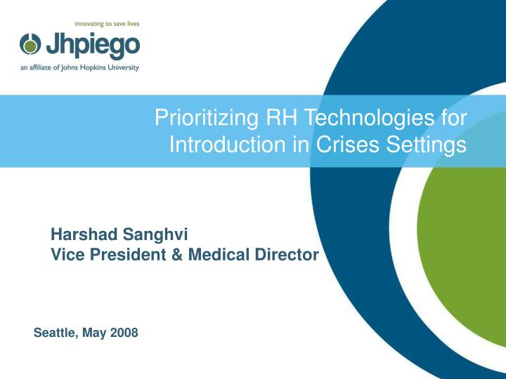 prioritizing rh technologies for introduction in crises settings n.
