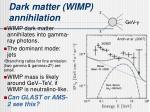 dark matter wimp annihilation