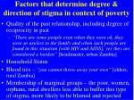 factors that determine degree direction of stigma in context of poverty