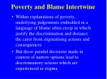 poverty and blame intertwine