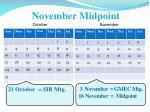 november midpoint october november