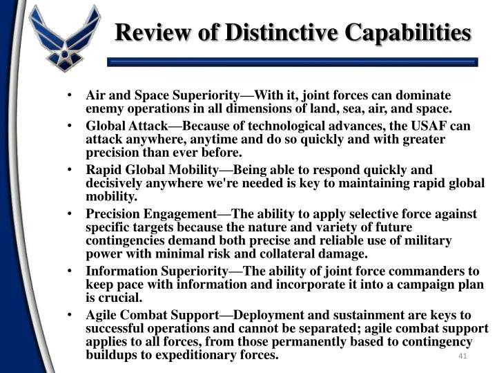 Review of Distinctive Capabilities