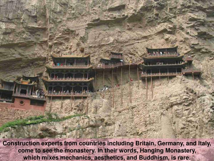 Construction experts from countries including Britain, Germany, and Italy,
