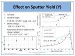 effect on sputter yield y