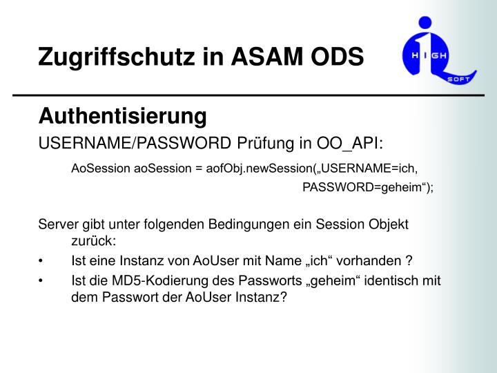 Zugriffschutz in asam ods2