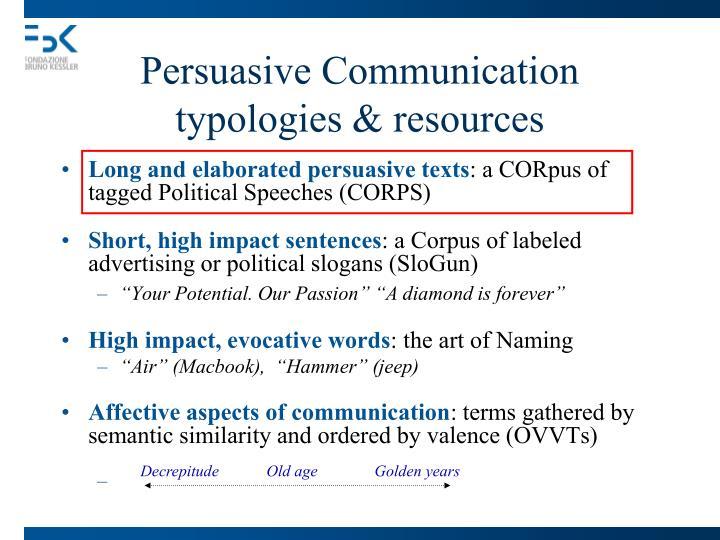 Persuasive Communication typologies & resources