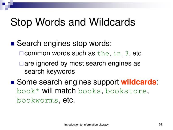 Stop Words and Wildcards