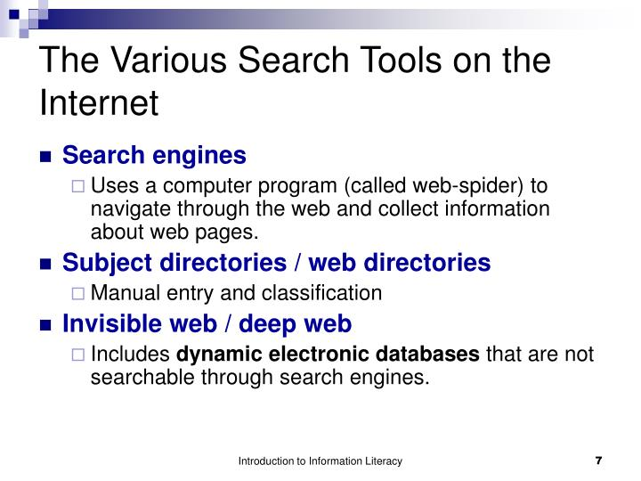 The Various Search Tools on the Internet