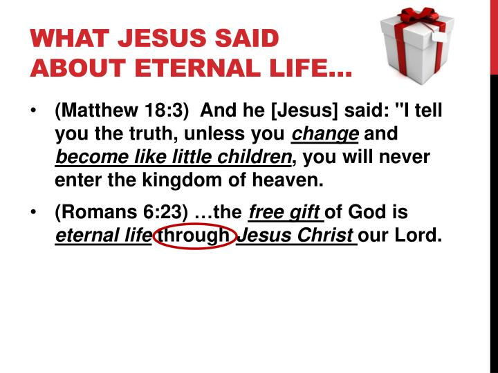 What jesus said about eternal life
