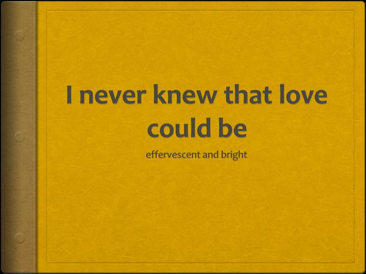 I never knew that love could be