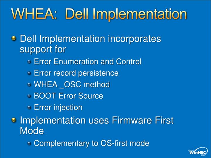 WHEA:  Dell Implementation