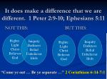it does make a difference that we are different 1 peter 2 9 10 ephesians 5 11