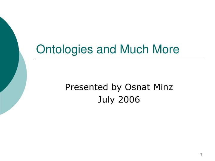 ontologies and much more n.