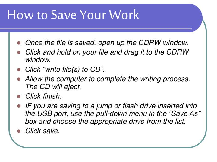How to Save Your Work