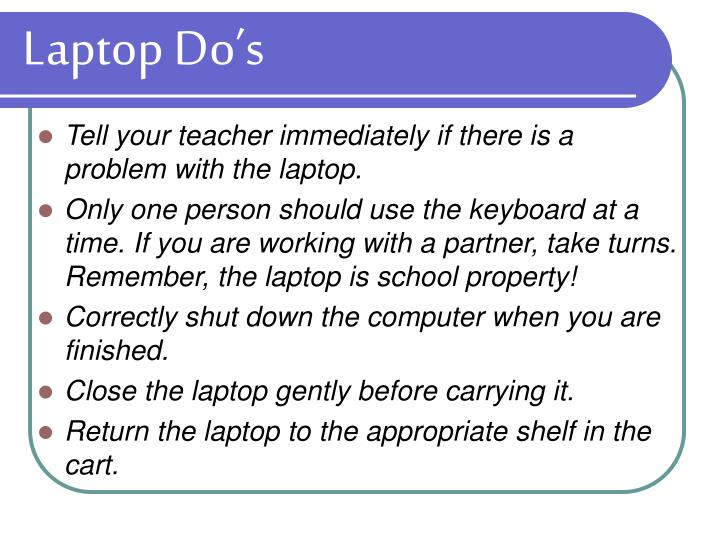 Laptop Do's