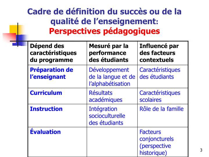 Cadre de d finition du succ s ou de la qualit de l enseignement perspectives p dagogiques