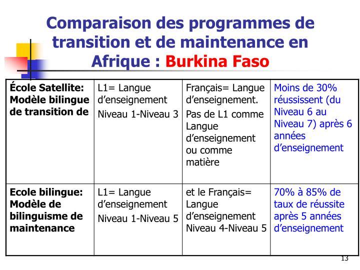 Comparaison des programmes de transition et de maintenance en Afrique
