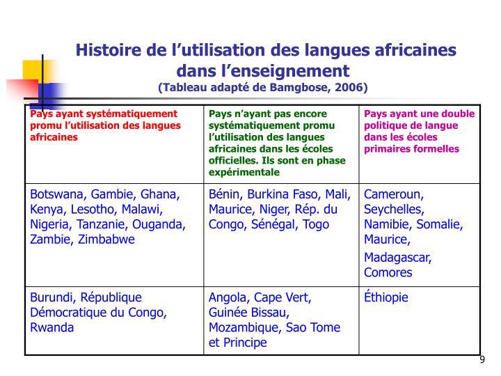Histoire de l'utilisation des langues africaines dans l'enseignement