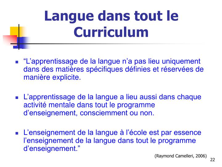 Langue dans tout le Curriculum