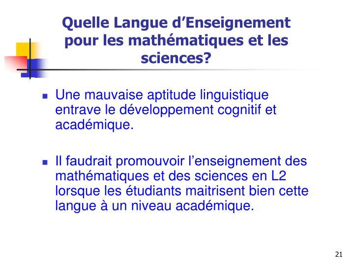 Quelle Langue d'Enseignement pour les mathématiques et les sciences?
