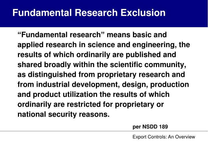 Fundamental Research Exclusion