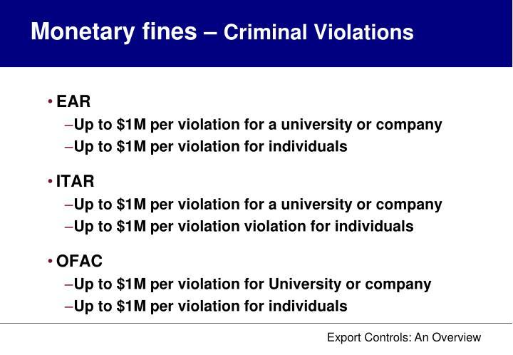 Monetary fines –