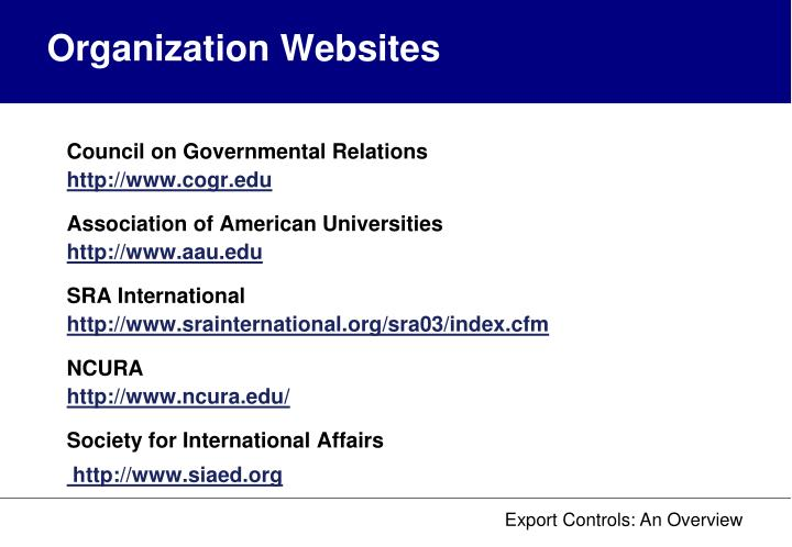 Organization Websites