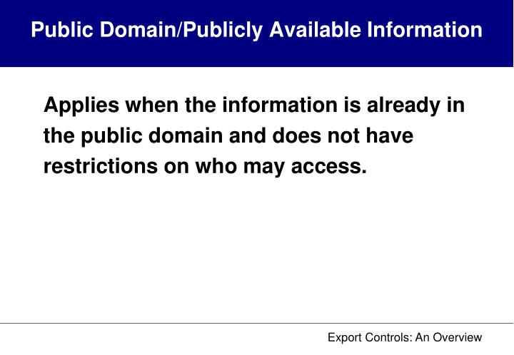 Public Domain/Publicly Available Information