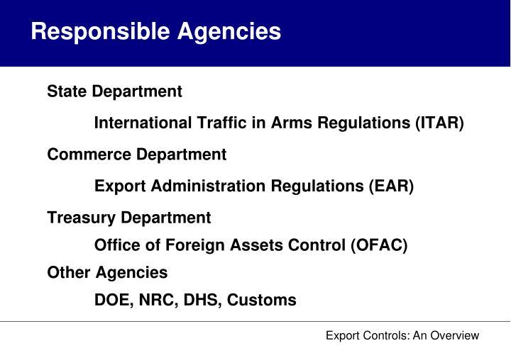 Responsible Agencies