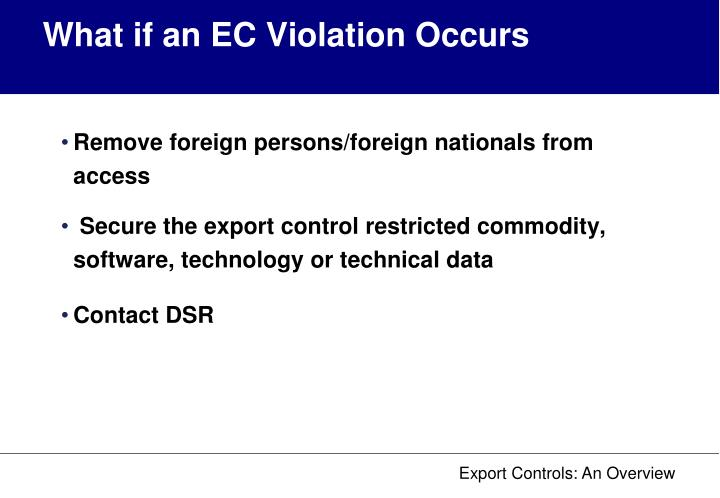 What if an EC Violation Occurs