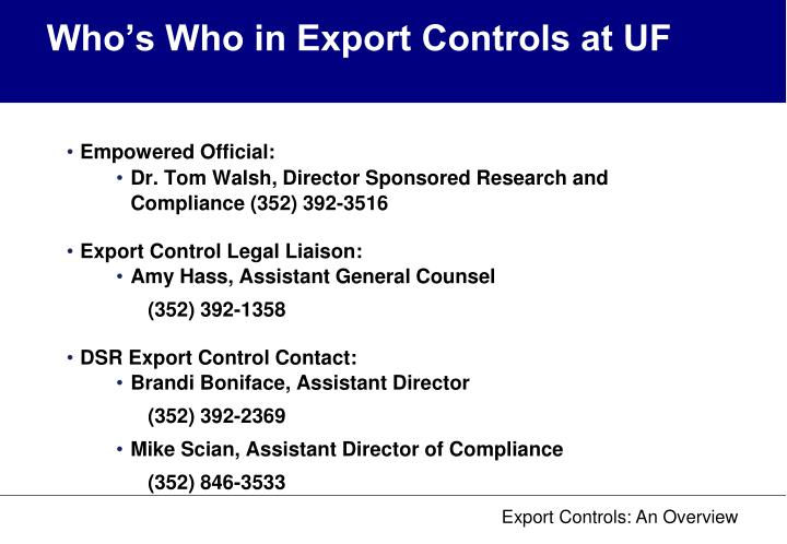 Who's Who in Export Controls at UF