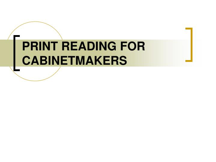 print reading for cabinetmakers n.