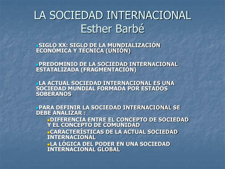 la sociedad internacional esther barb n.