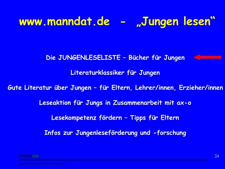 """www.manndat.de  -  """"Jungen lesen"""""""