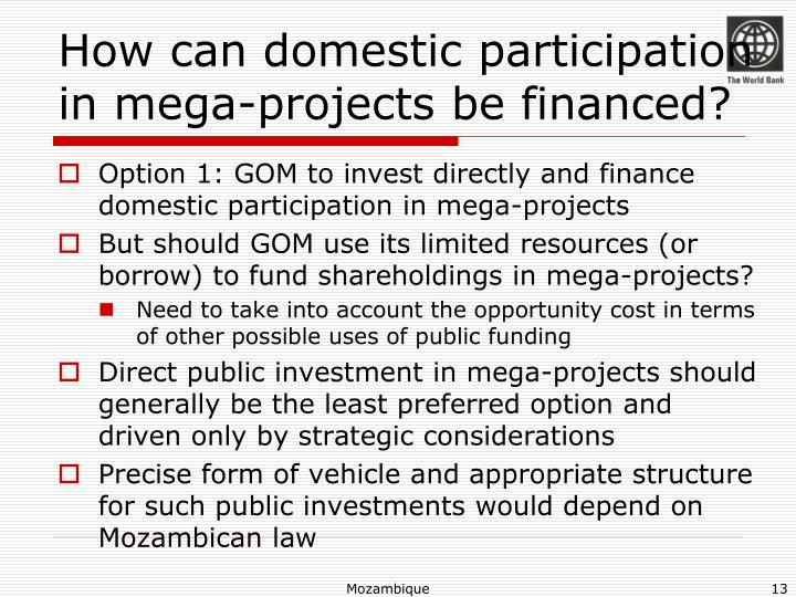 How can domestic participation in mega-projects be financed?
