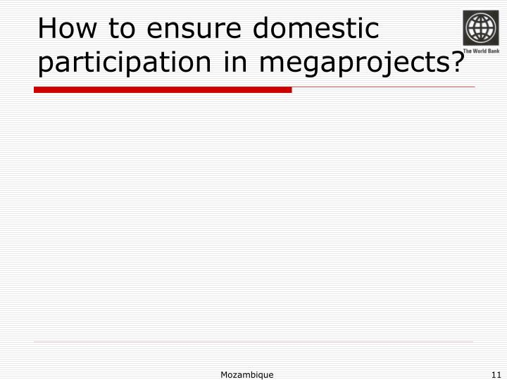 How to ensure domestic participation in megaprojects?