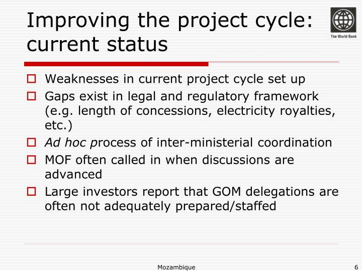 Improving the project cycle: current status