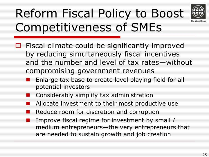Reform Fiscal Policy to Boost Competitiveness of SMEs