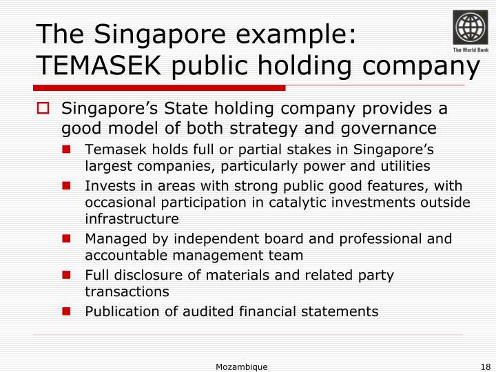The Singapore example: TEMASEK public holding company