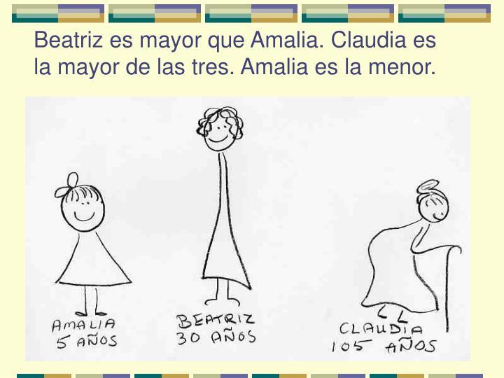 Beatriz es mayor que Amalia. Claudia es la mayor de las tres. Amalia es la menor.