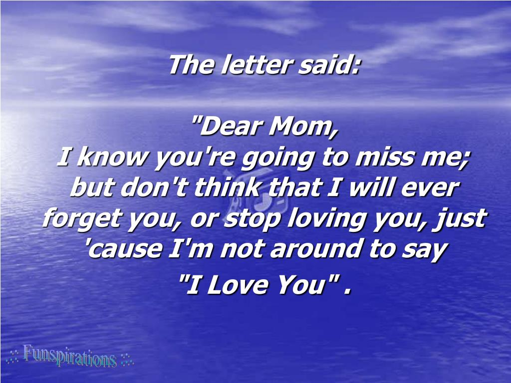 The letter said:
