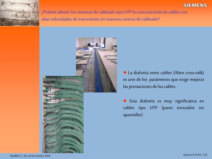 ¿Podrán admitir los sistemas de cableado tipo UTP la concentración de cables con altas velocidades de transmisión en nuestros centros de cableado?