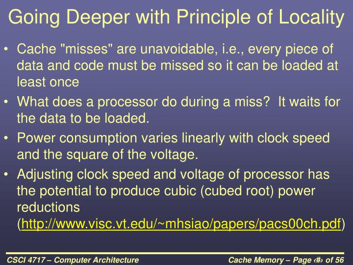 Going Deeper with Principle of Locality
