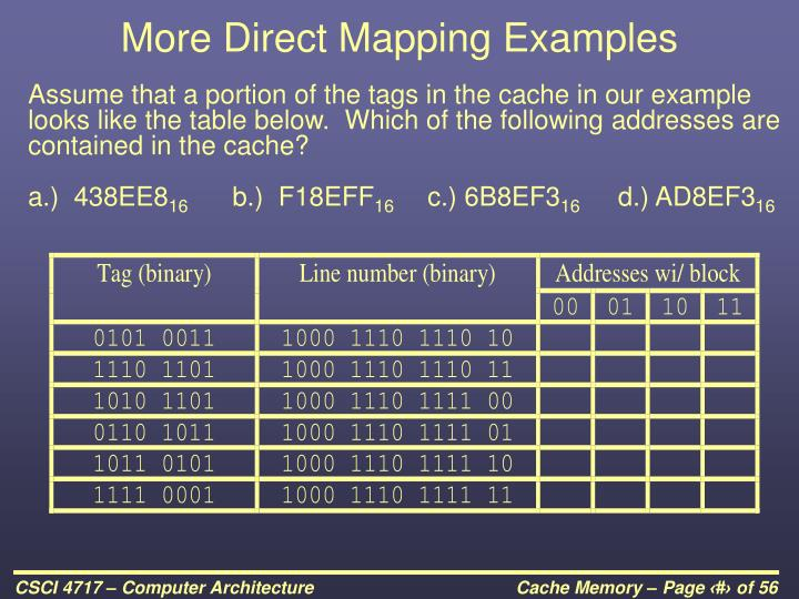 More Direct Mapping Examples